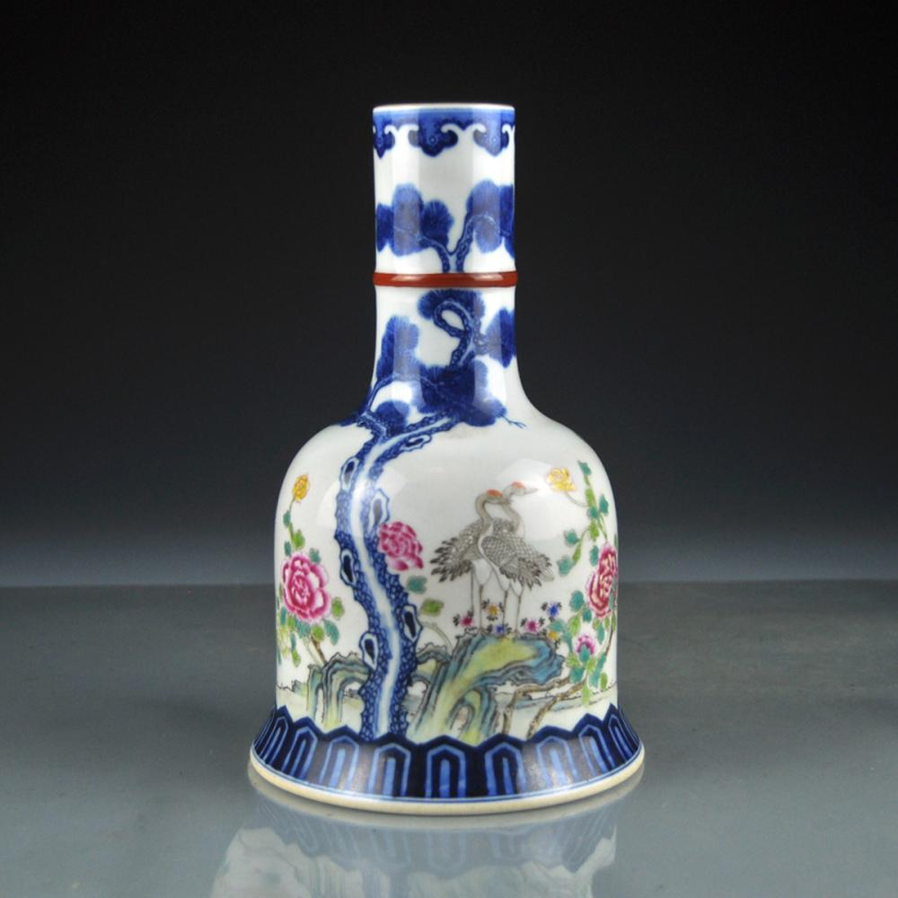 Beautiful Chinese Qing Dy Famille Rose Porcelain Crane & Peony Vase