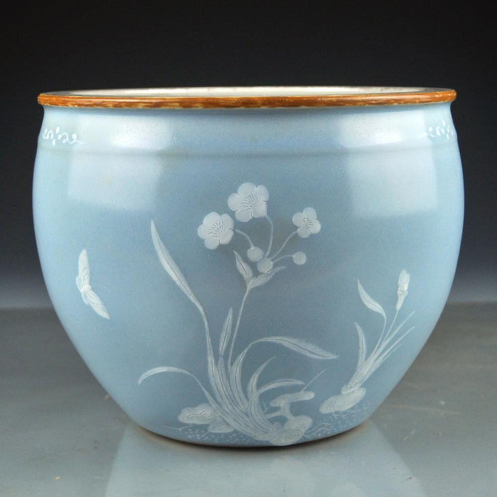 Chinese Qing Dy Gilt Edge Dou Qing Glaze Porcelain  Flowers & Butterfly Jar