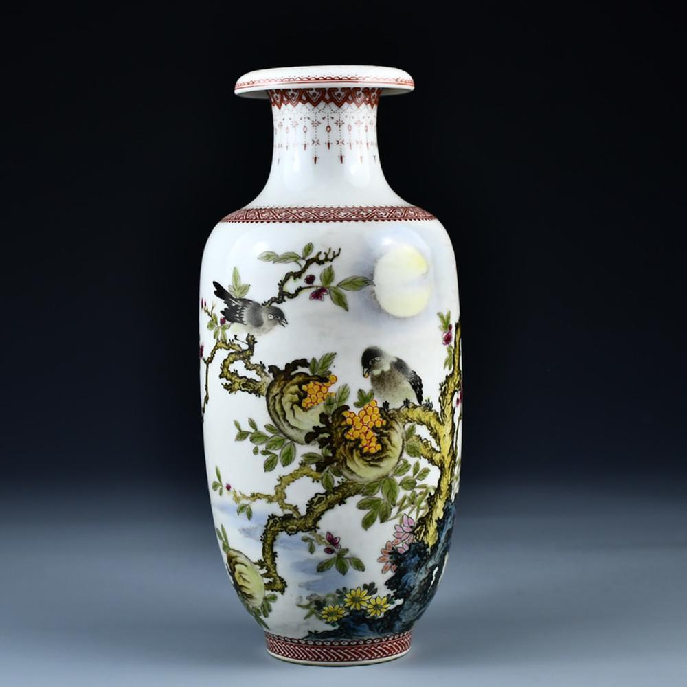 Superb Chinese Famille Rose Porcelain Magpie & Flowers Vase