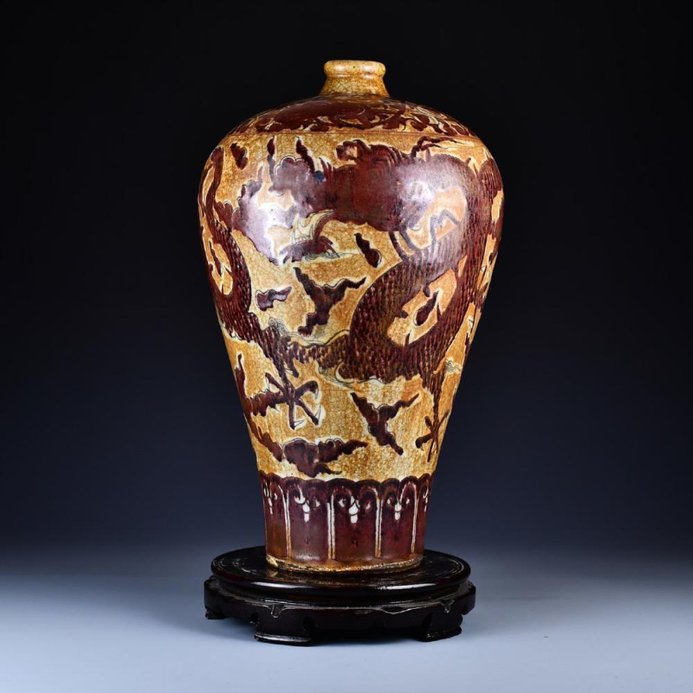 Beautiful Chinese Underglaze Red Porcelain Dragon Vase