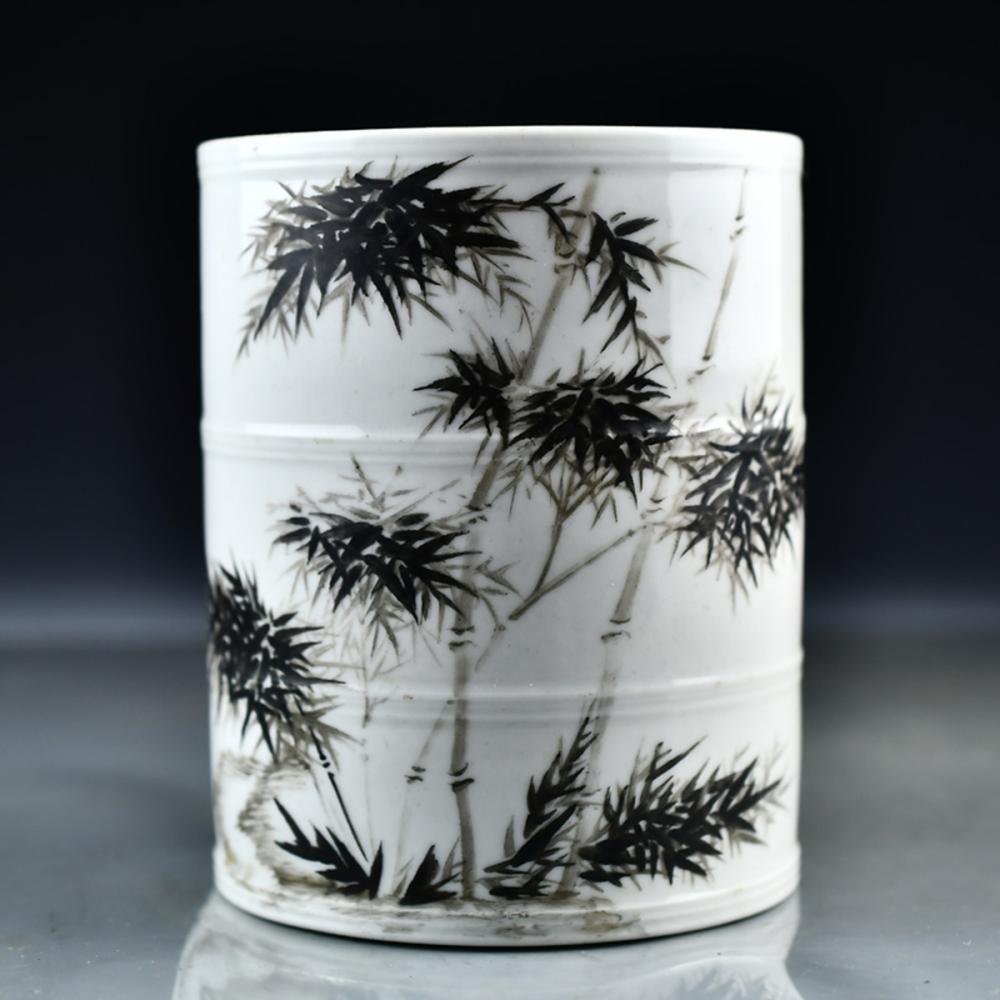 Chinese Ink Glaze Porcelain Brush Pot w Qian Long Mark