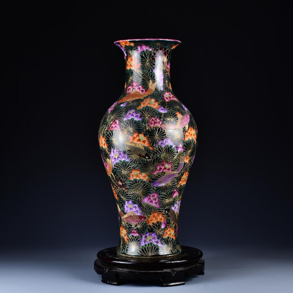 Superb Chinese Qing Dy Gilt Gold Enamel Porcelain Fishs Lotus Vase