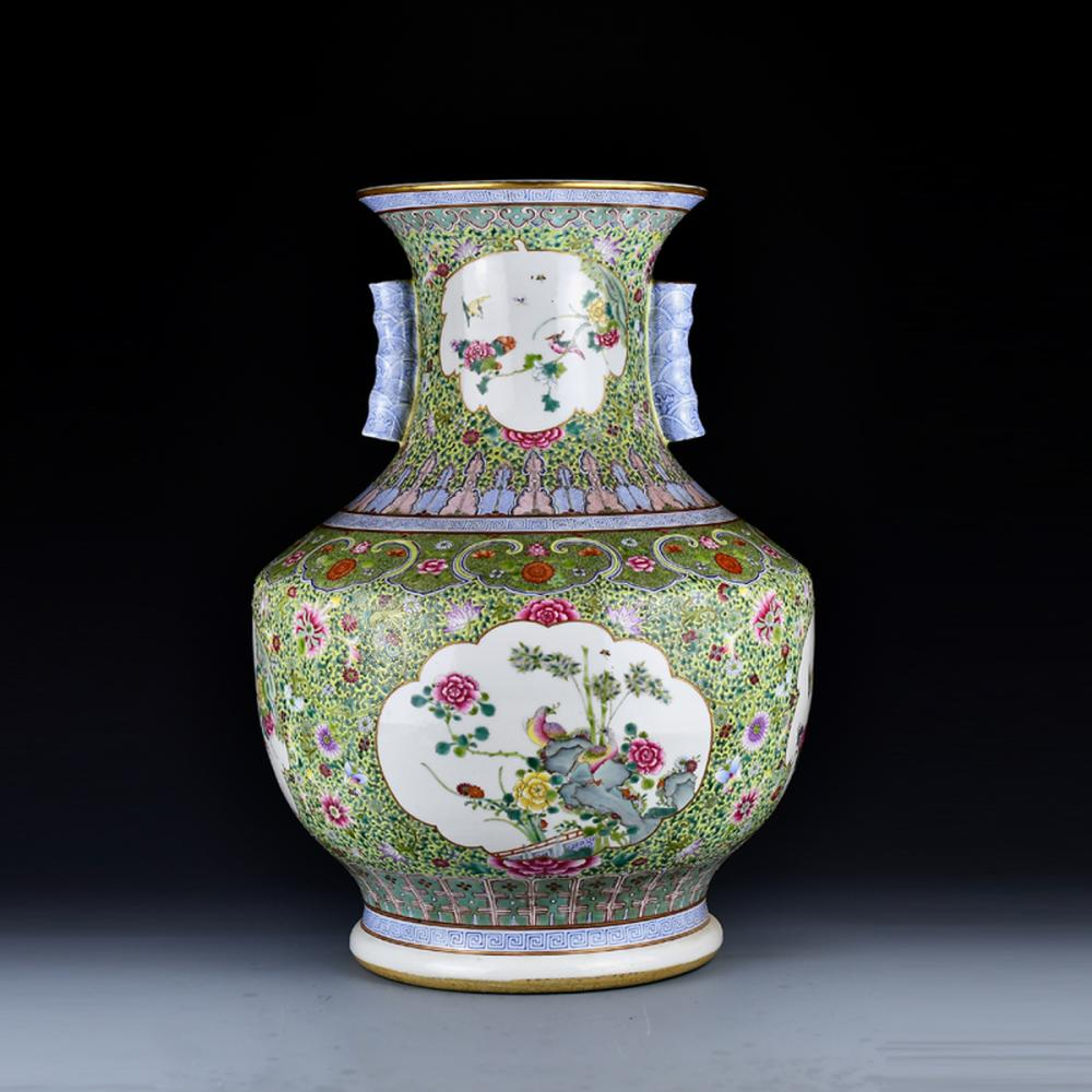 Superb Chinese Gilt Edges Famille Rose Porcelain Vase w Qian Long Mark