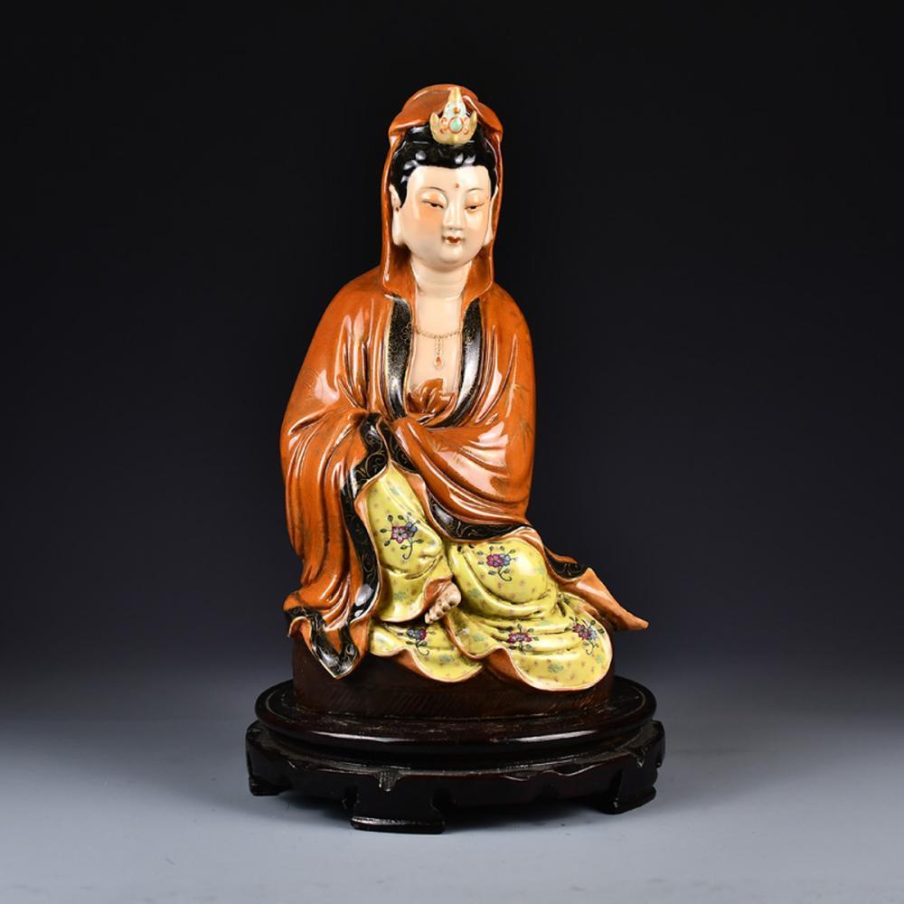 Beautiful Chinese Famille Rose Porcelain Kwan-yin Statue