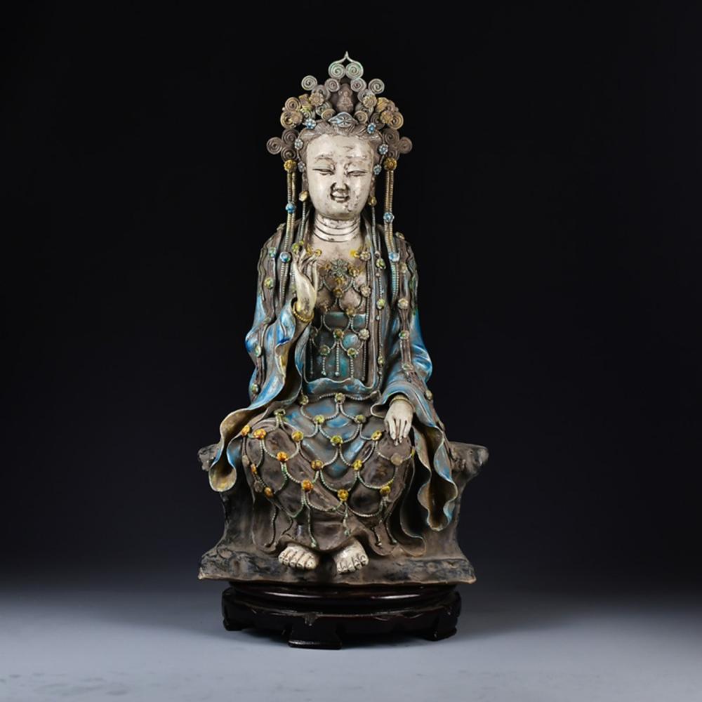 Chinese Ming Dy Porcelain Kwan-yin Statue