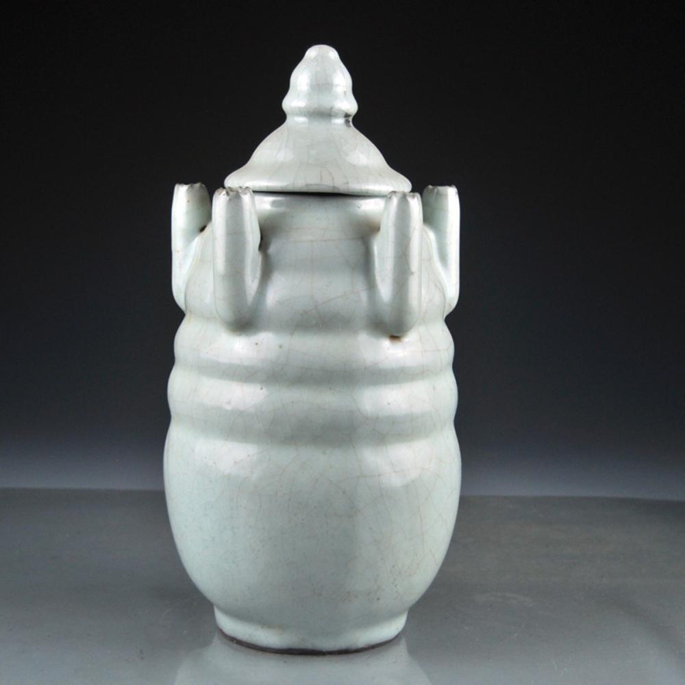 Vintage Chinese Song Dy Guan Kiln Porcelain Pot w Lid