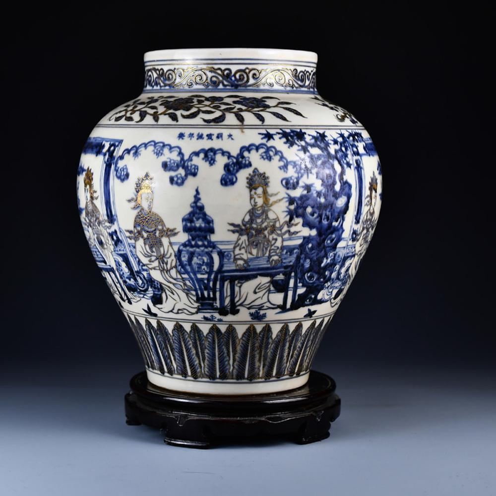 Superb Chinese Ming Dynasty Gilt Gold Blue And White Porcelain Jar
