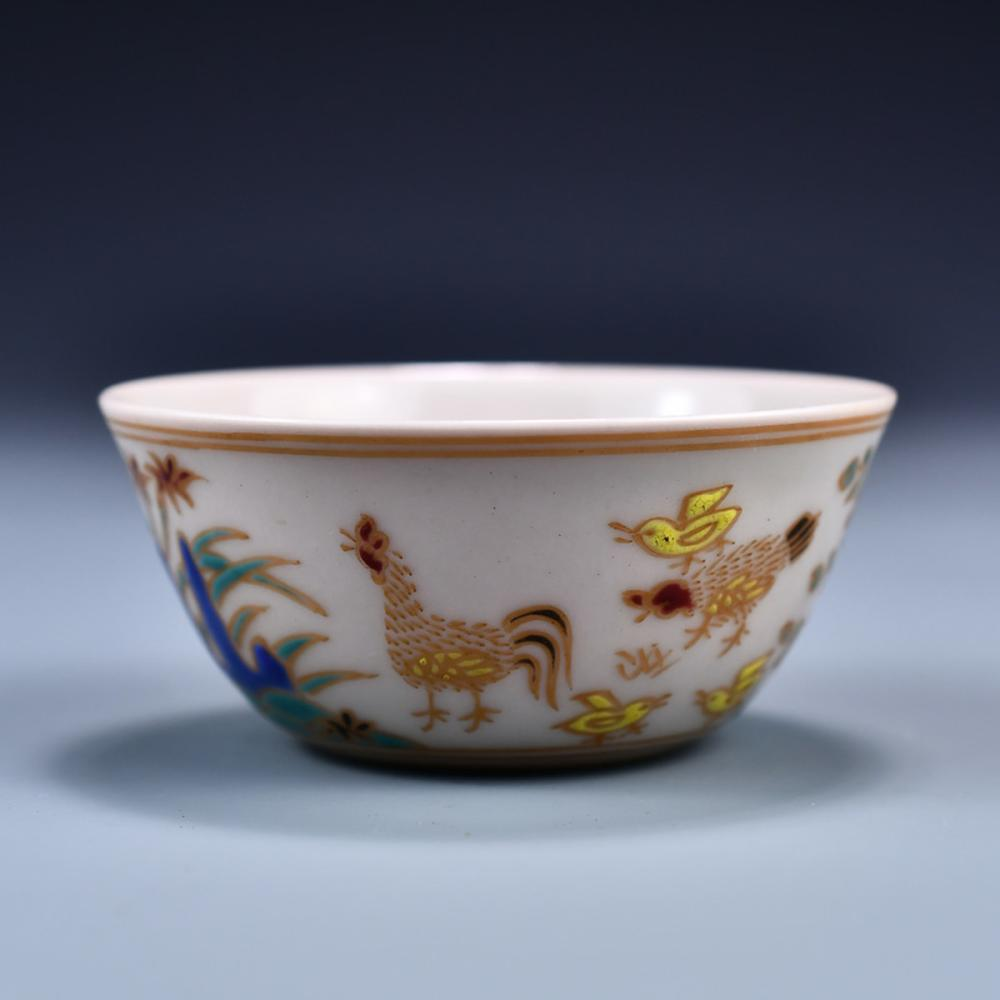 Chinese Ming Dynasty Night Porcelain Rooster Bowl