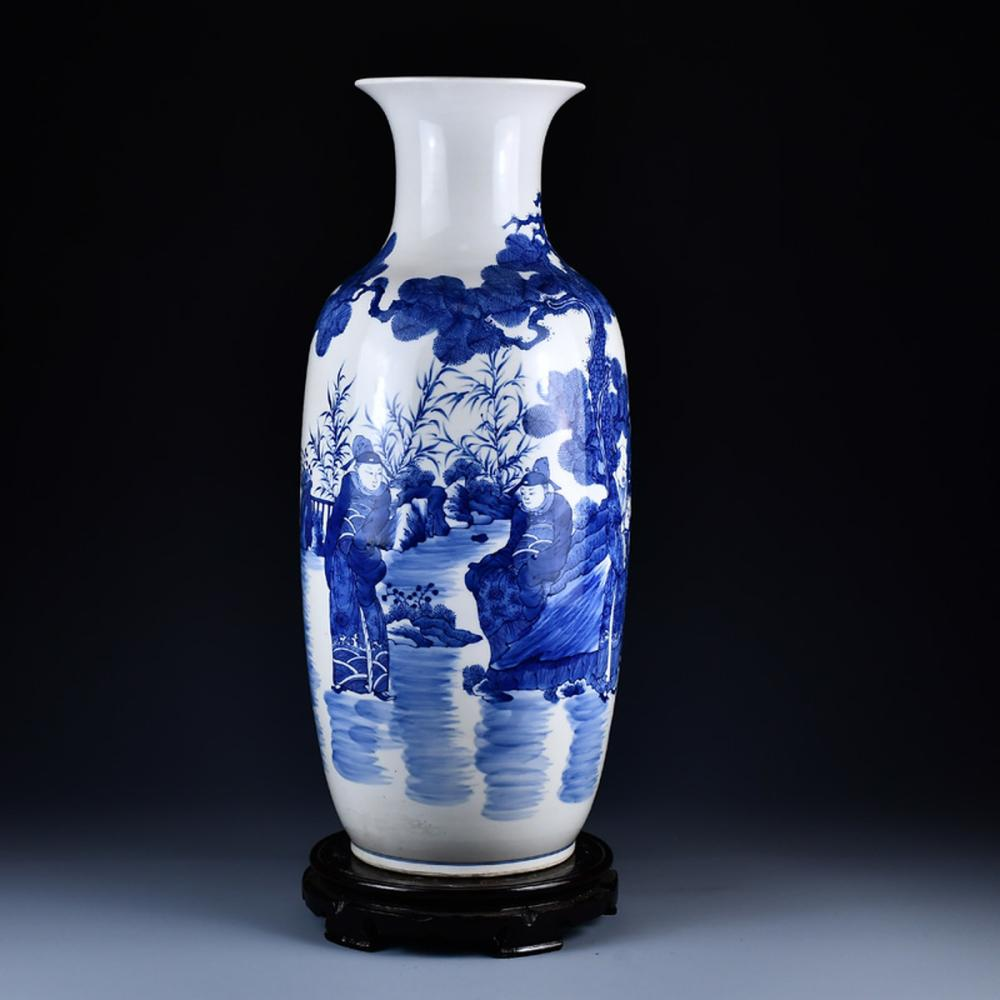 Chinese Qing Dynasty  Blue And White Porcelain Figure Vase