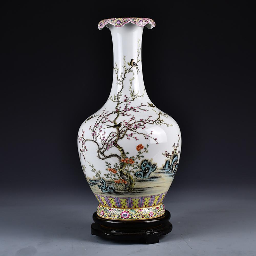 Chinese Gilt Edges Famille Rose Porcelain Vase w Qian Long Mark
