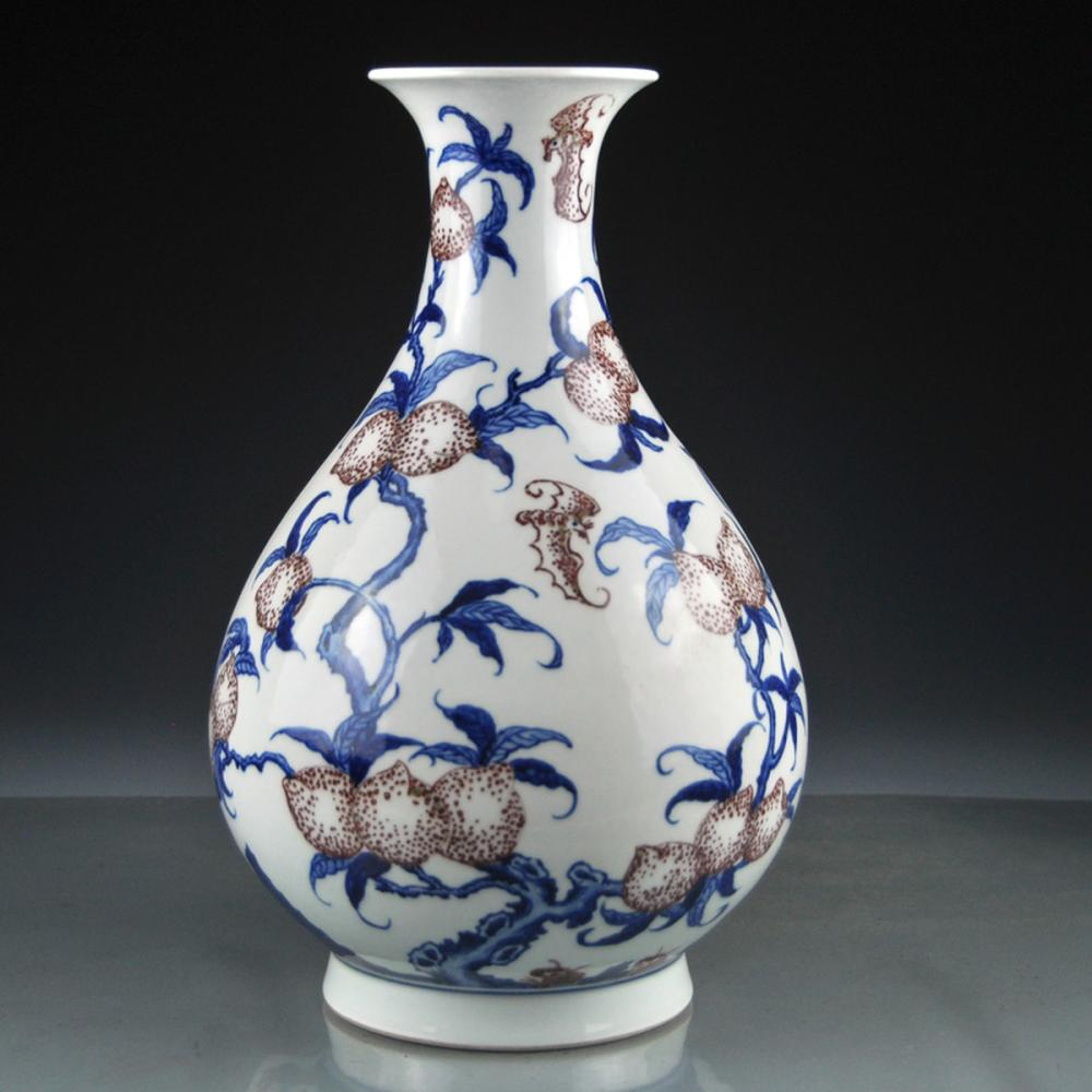 Beautiful Chinese Qing Dynasty Blue And White And Underglaze Red Porcelain Vase