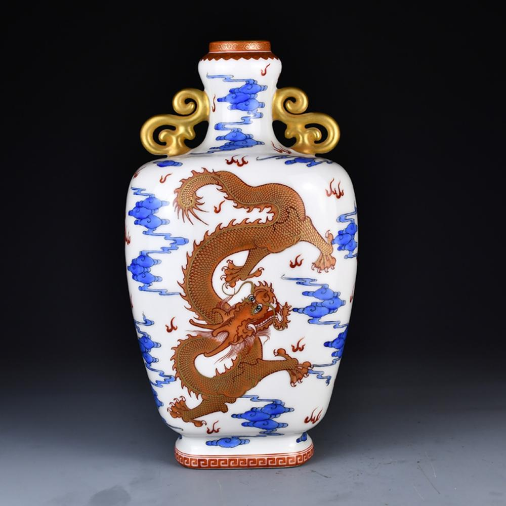 Qing Dy Gilt Gold Blue And White Porcelain Vase - Double Dragon & Fire Ball