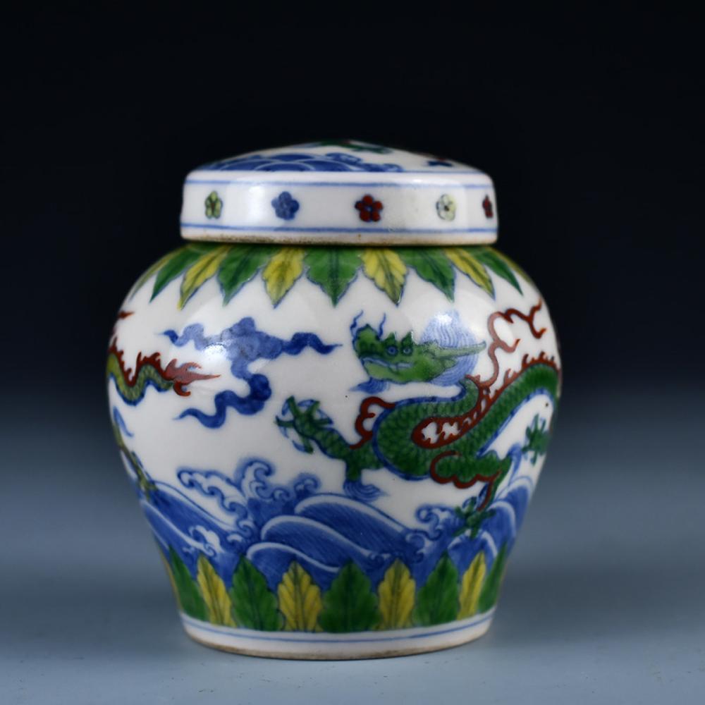 Chinese Dou Cai Porcelain Dragon Tea Caddy