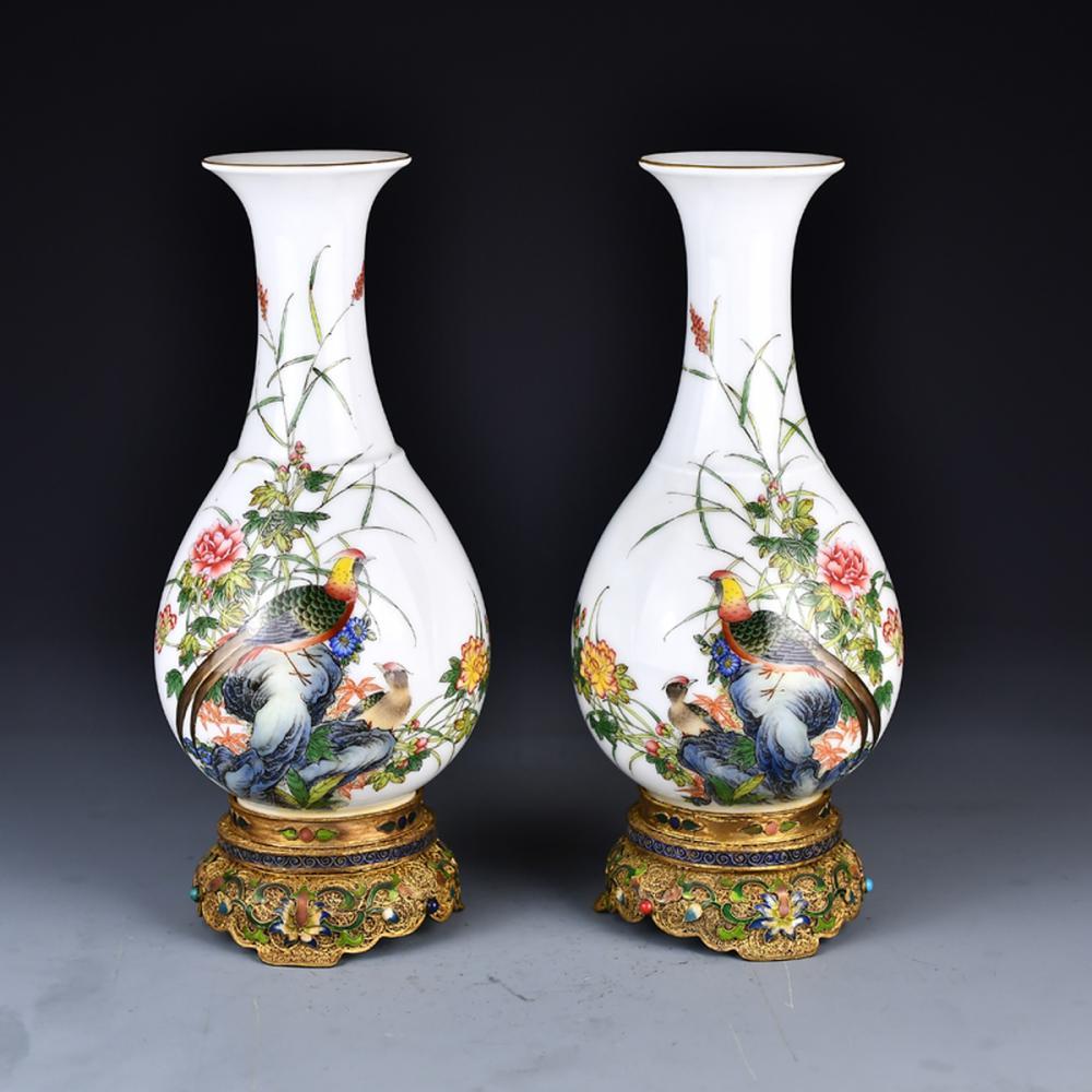 A Pair Superb Chinese Qing Dynasty Gilt Gold Enamel Porcelain Vase w Yongzheng Mark