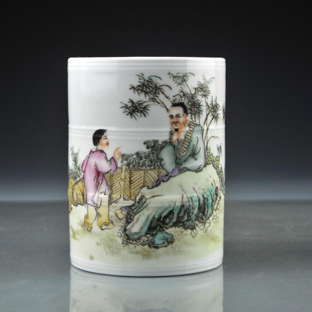 Chinese Famille Rose Figures Porcelain Brush Pot