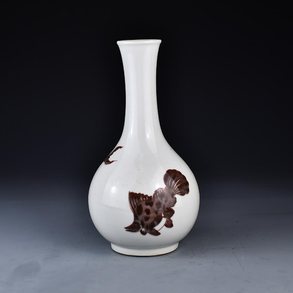 Beautiful Chinese Underglaze Red Porcelain Fishs Vase