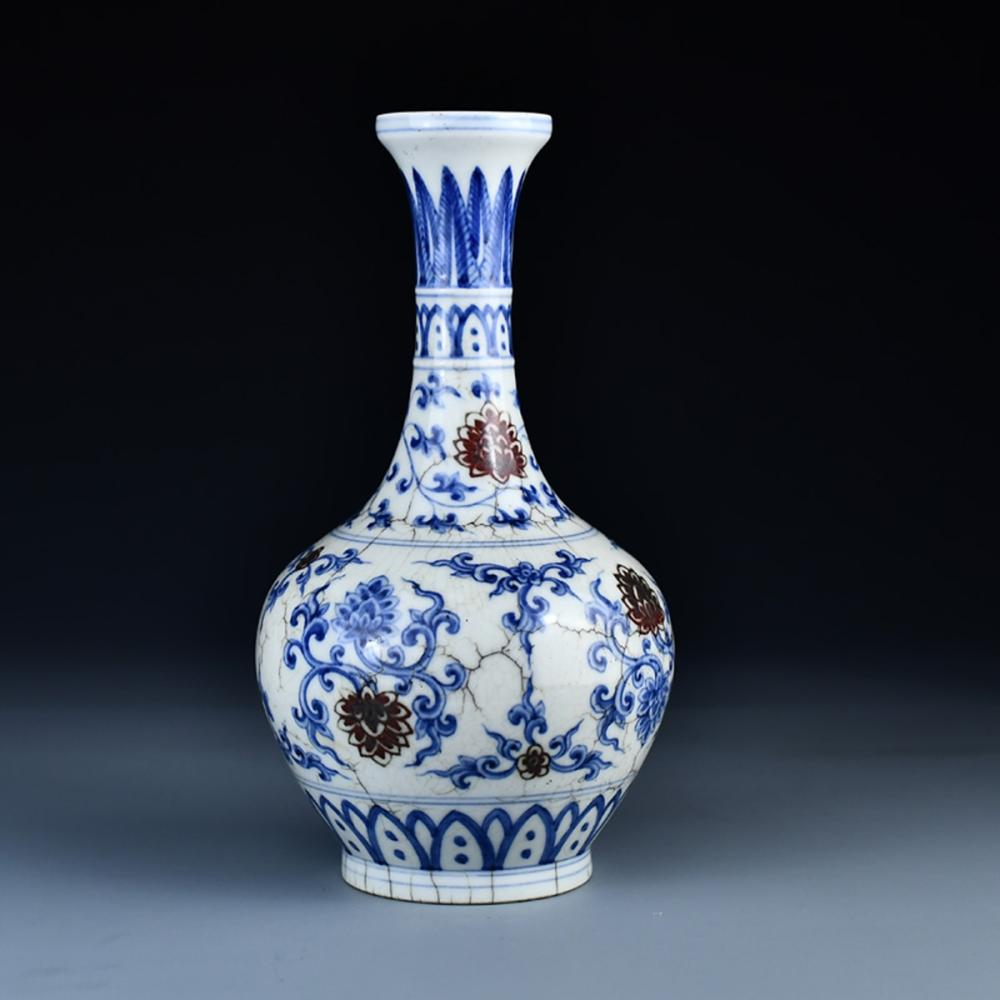 Chinese Ming Dy Blue And White Porcelain Vase w Cheng Hua Mark