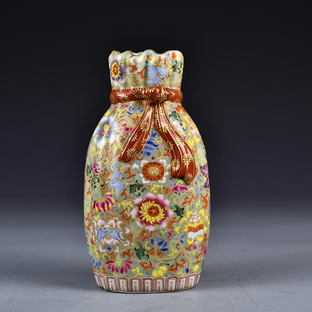 Chinese Gilt Gold Enamel Porcelain Pocket Vase w Qian Long Mark