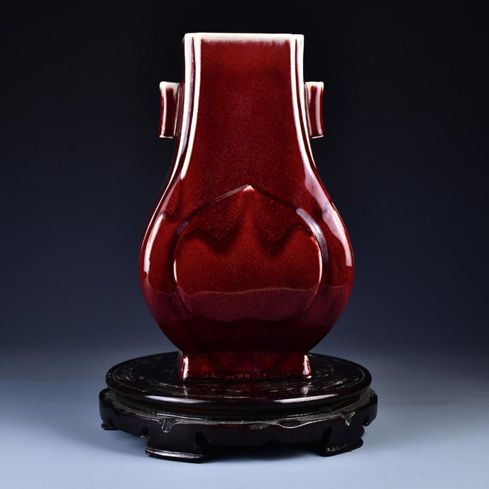 Chinese Red Glaze Porcelain Double Ears Vase