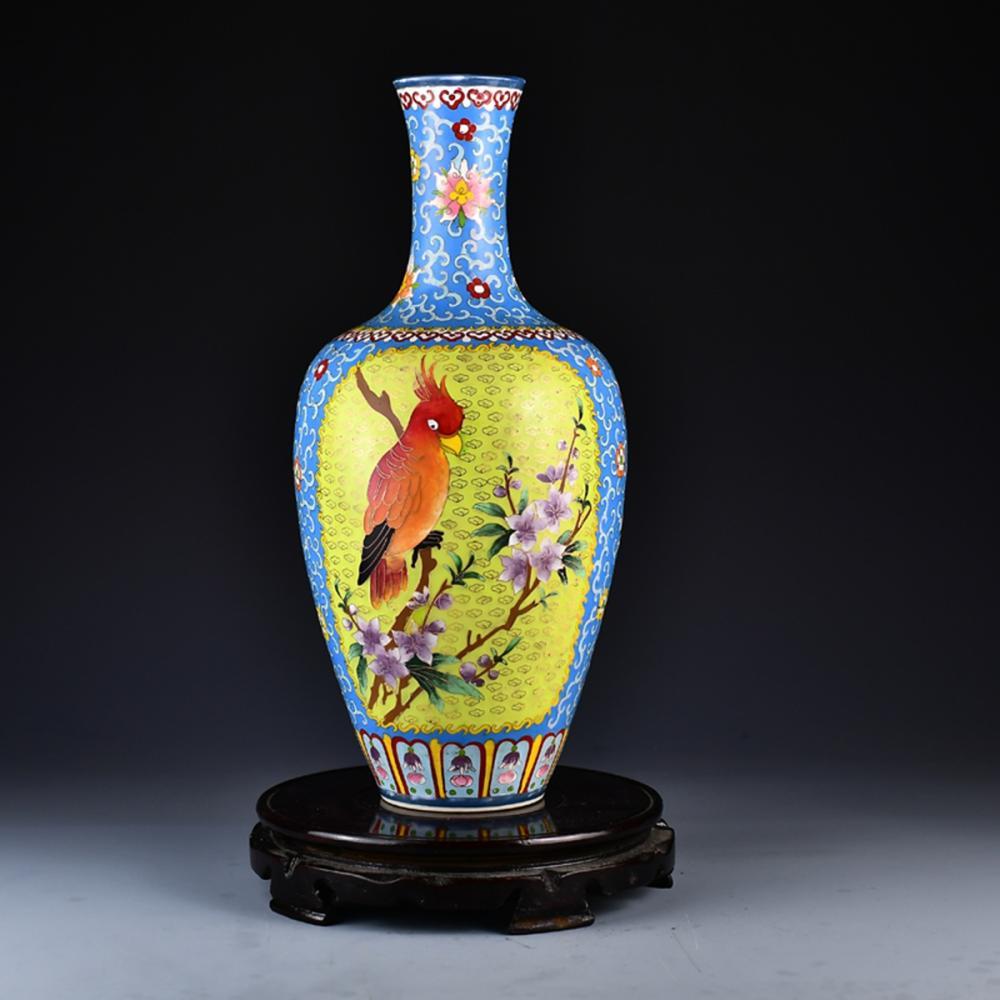 Beautiful Chinese Gold Wire Enamel Flowers & Birds Porcelain Vase