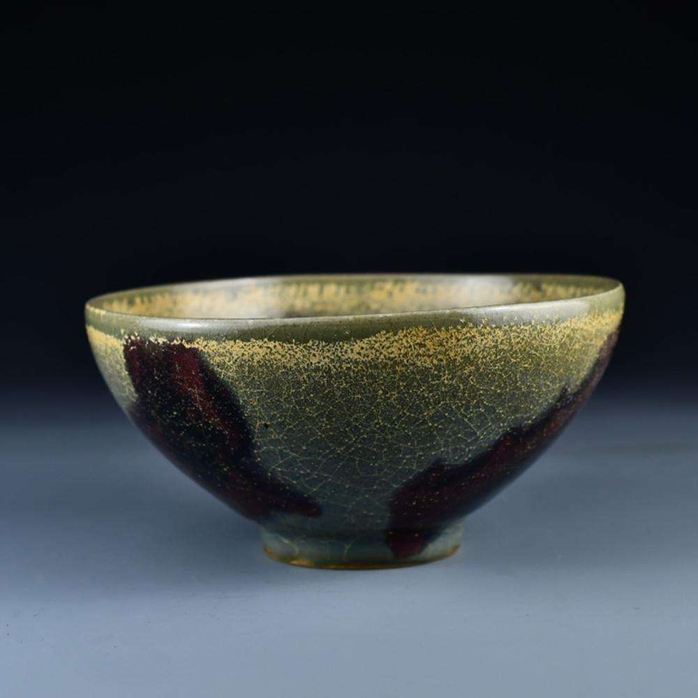 Vintage Chinese Variable Glaze Jun Kiln Porcelain Bowl