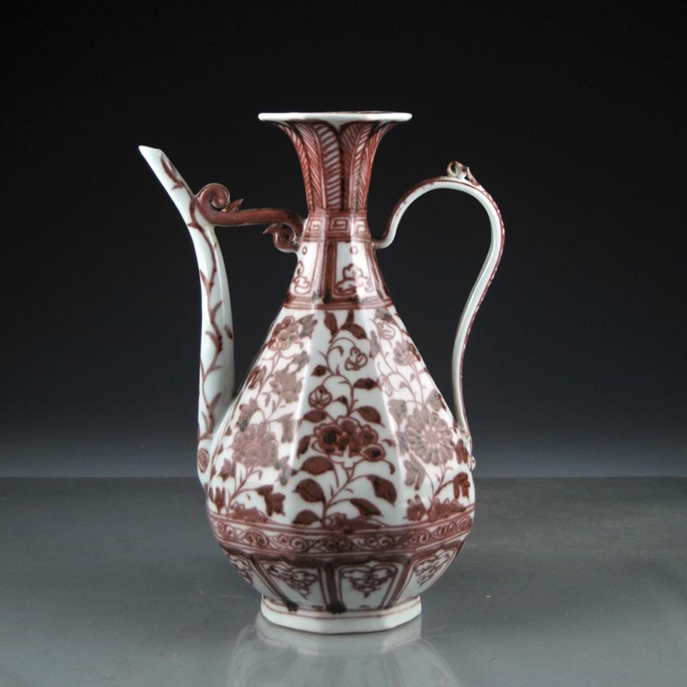 Beautiful Chinese Underglaze Red Porcelain Flower Wine Pot