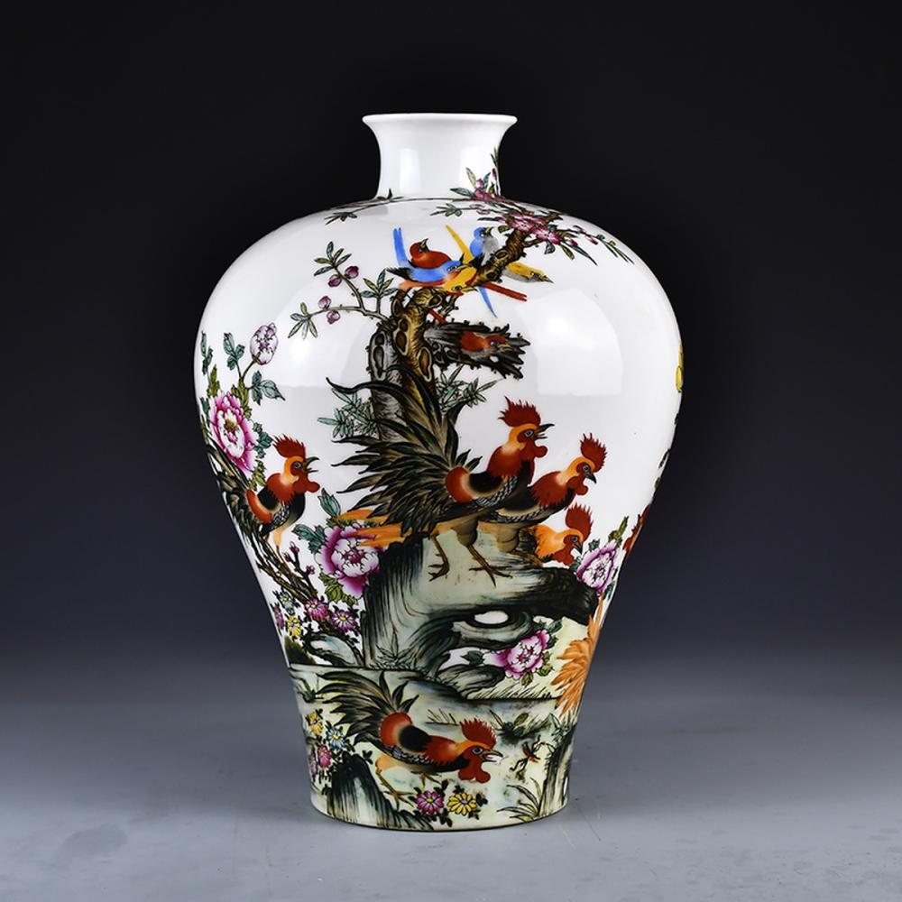 Chinese Famille Rose Porcelain Flower Magpie & Plum Flowers Vase w Qianlong Mark