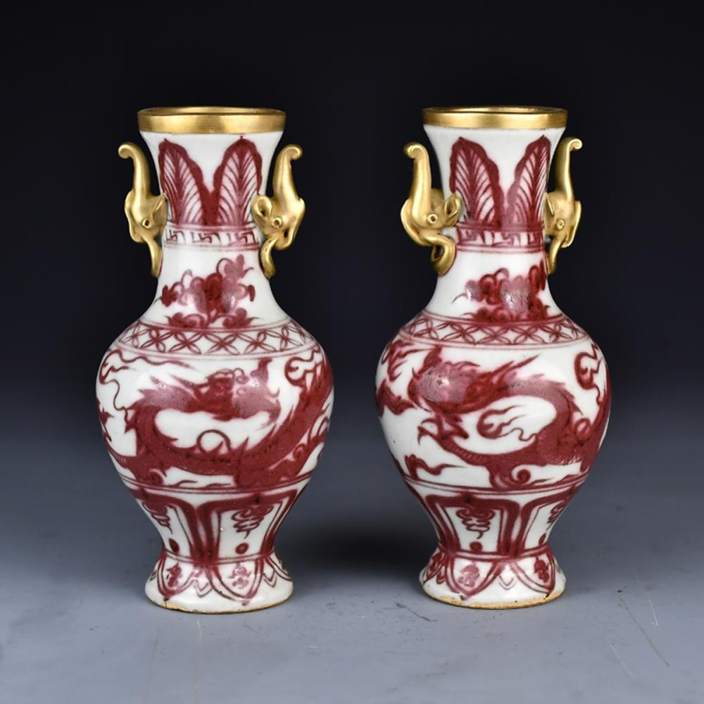 A Pair Chinese Gilt Gold Underglazed Red Double Ears Porcelain Vases