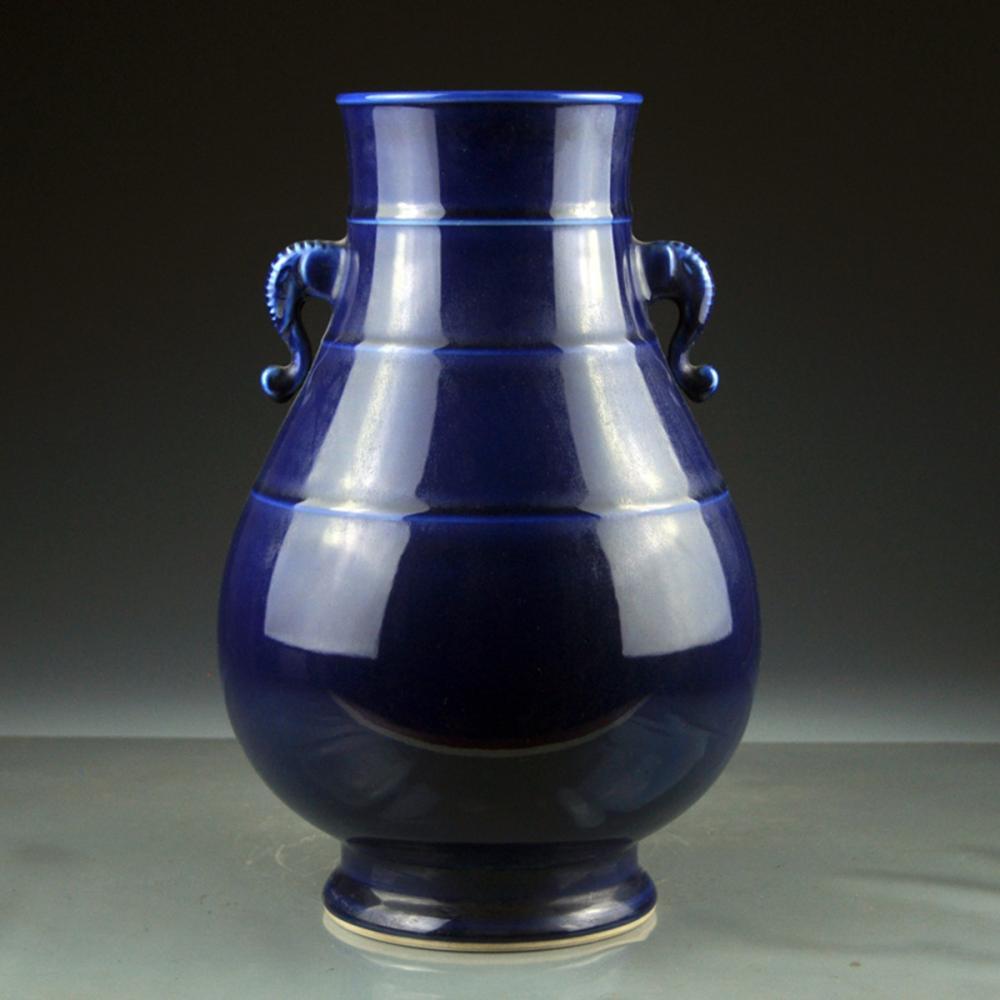 Beautiful Chinese Qing Dy Blue Glaze Double Ears Porcelain Pot w Qianlong Mark
