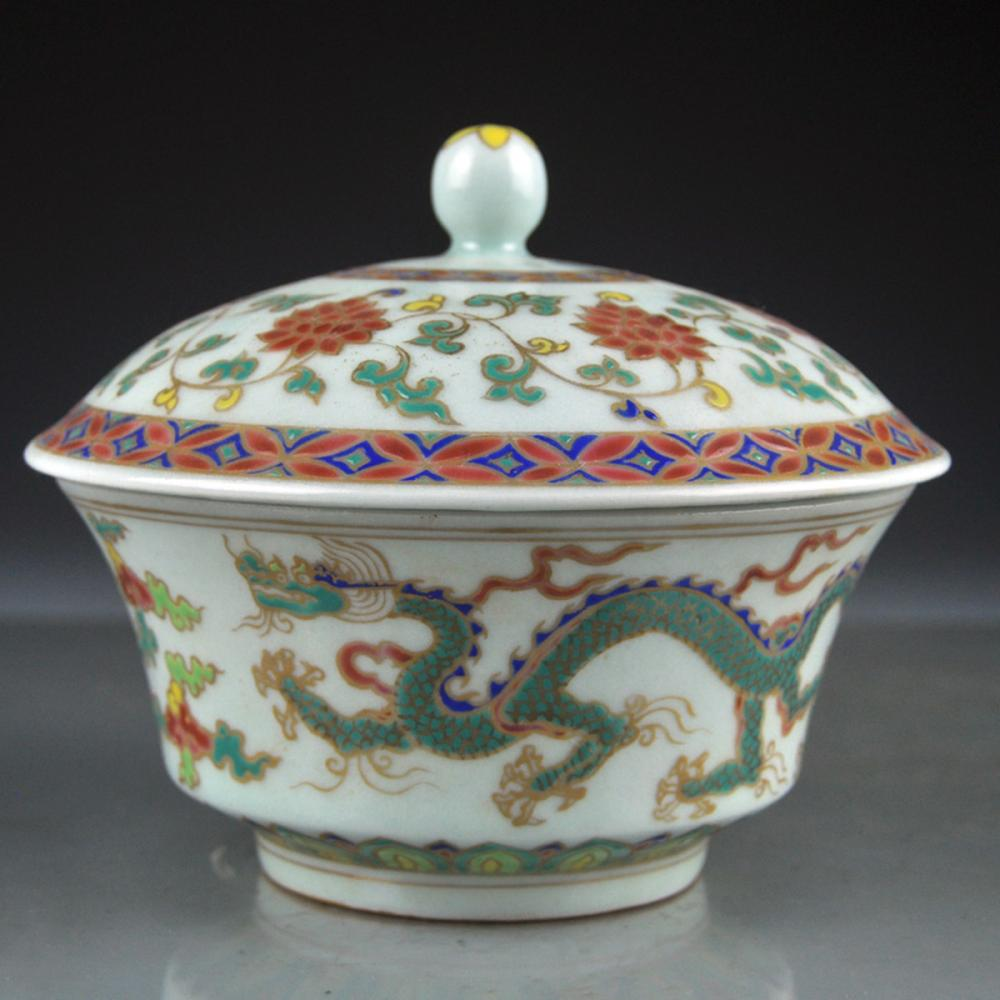 Chinese Ming Dynasty Dou Cai Porcelain Dragon Teacup