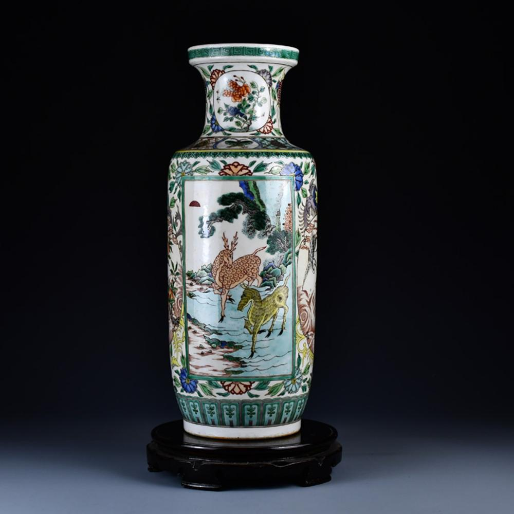 Beautiful Chinese Wucai Porcelain Vase w Kangxi Mark