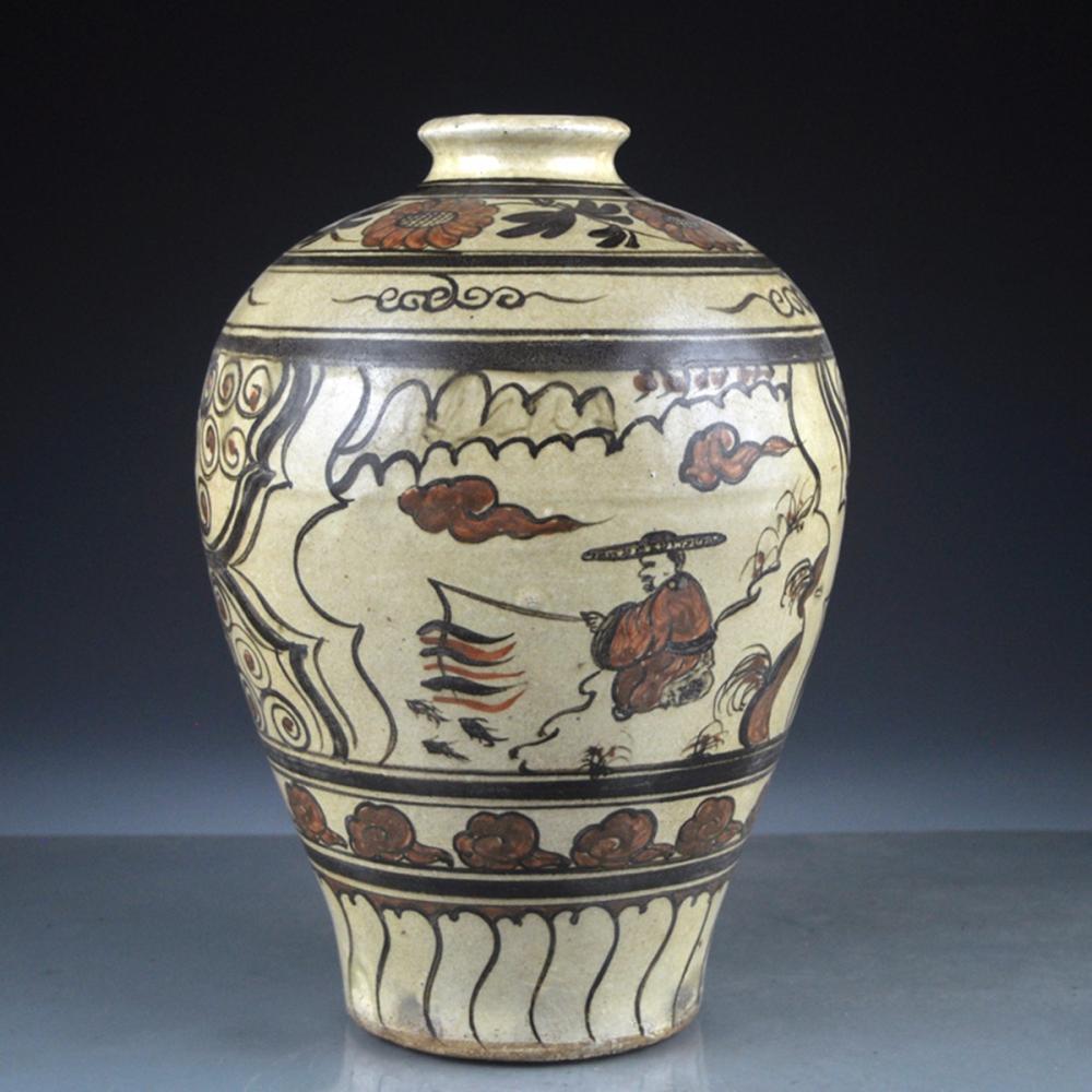 Vintage Chinese Cizhou Kiln Porcelain Vase