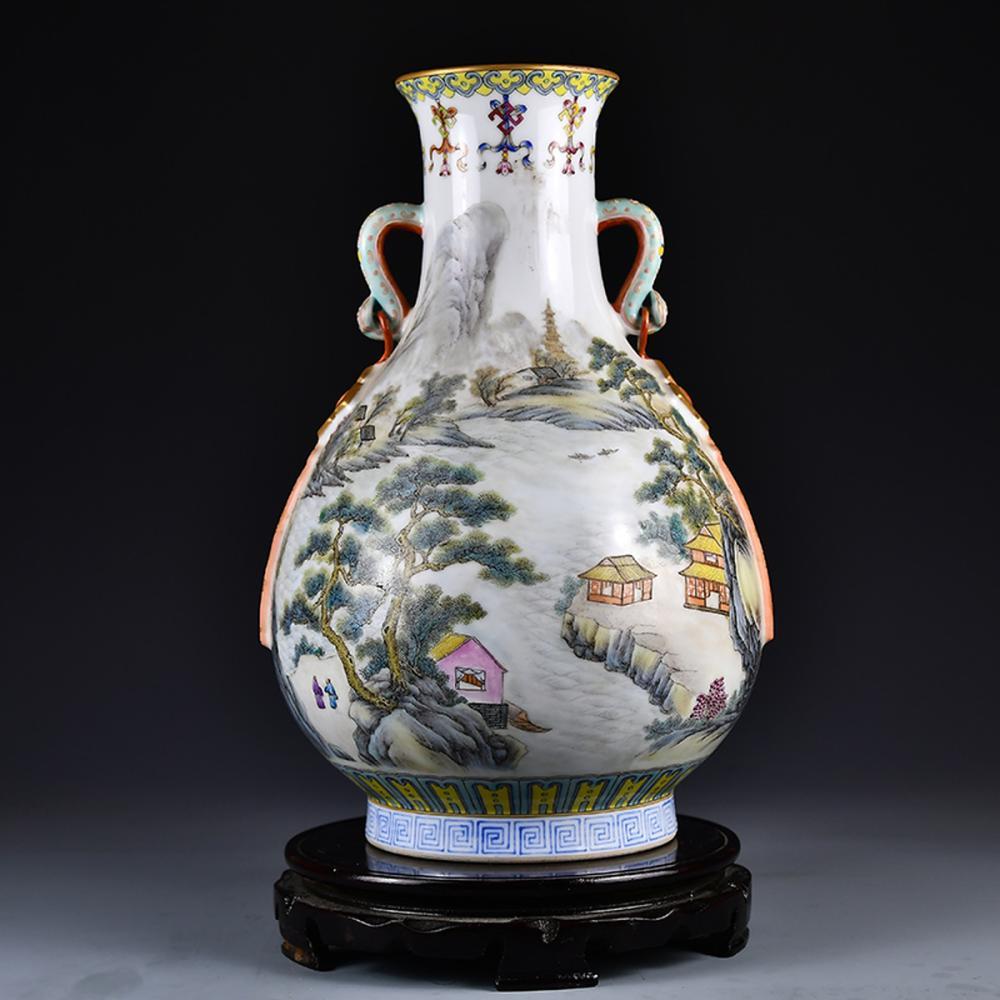 Superb Chinese Gilt Edge Famille Rose Porcelain Mountain River Scene Vase w Qianlong Mark