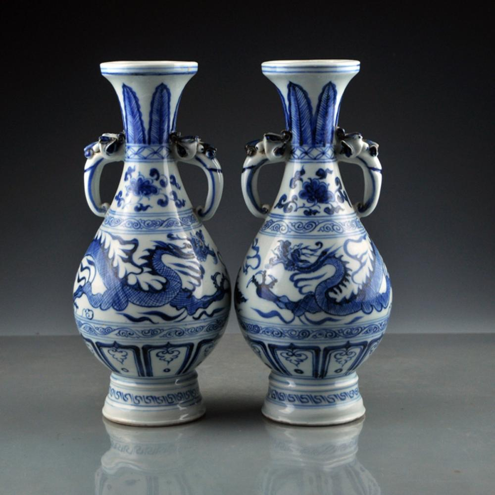 A Pair Chinese Blue And White Double Ears Porcelain Vases w Dragon