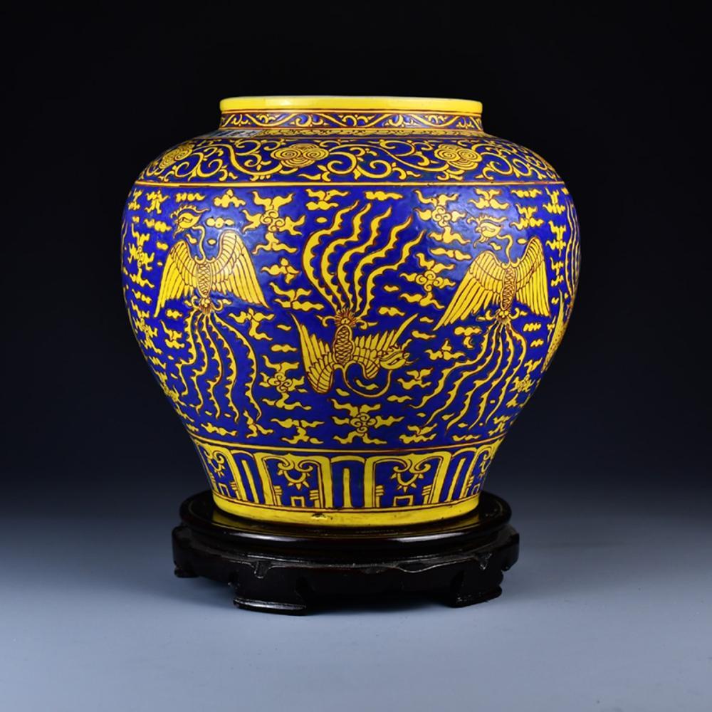 Chinese Ming Dy Blue Ground Yellow Glaze Phoenix Design Porcelain Jar w Jia Jing Mark