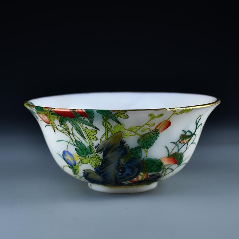Chinese Qing Dy Gilt Edge Famille Rose Glass Bowl w Yong Zheng Mark