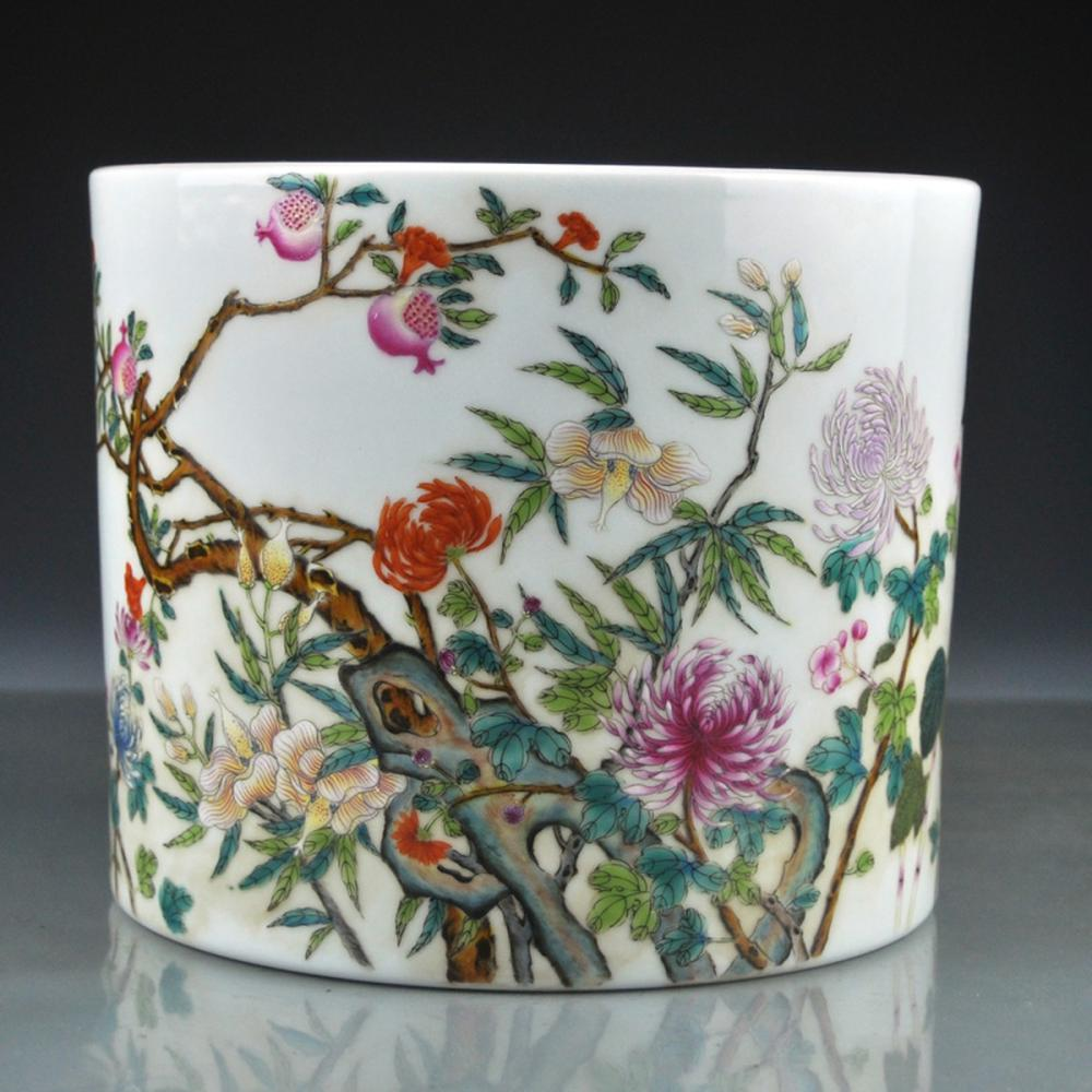 Superb Chinese Qing Dy Famille Rose Porcelain Brush Pot w Yongzheng Mark