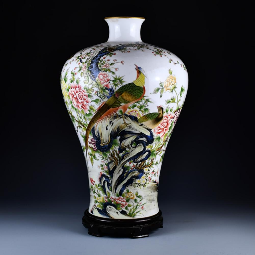 Superb Chinese Qing Dy Famille Rose Porcelain Flowers & Birds Design Vase