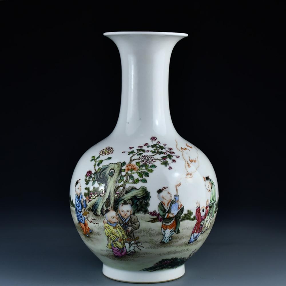 Chinese Famille Rose Porcelain Vase - Kids w Yong Zheng Mark