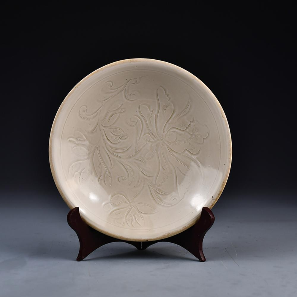 Chinese Song Dy Ding Kiln White Glaze Porcelain Flowers Plate