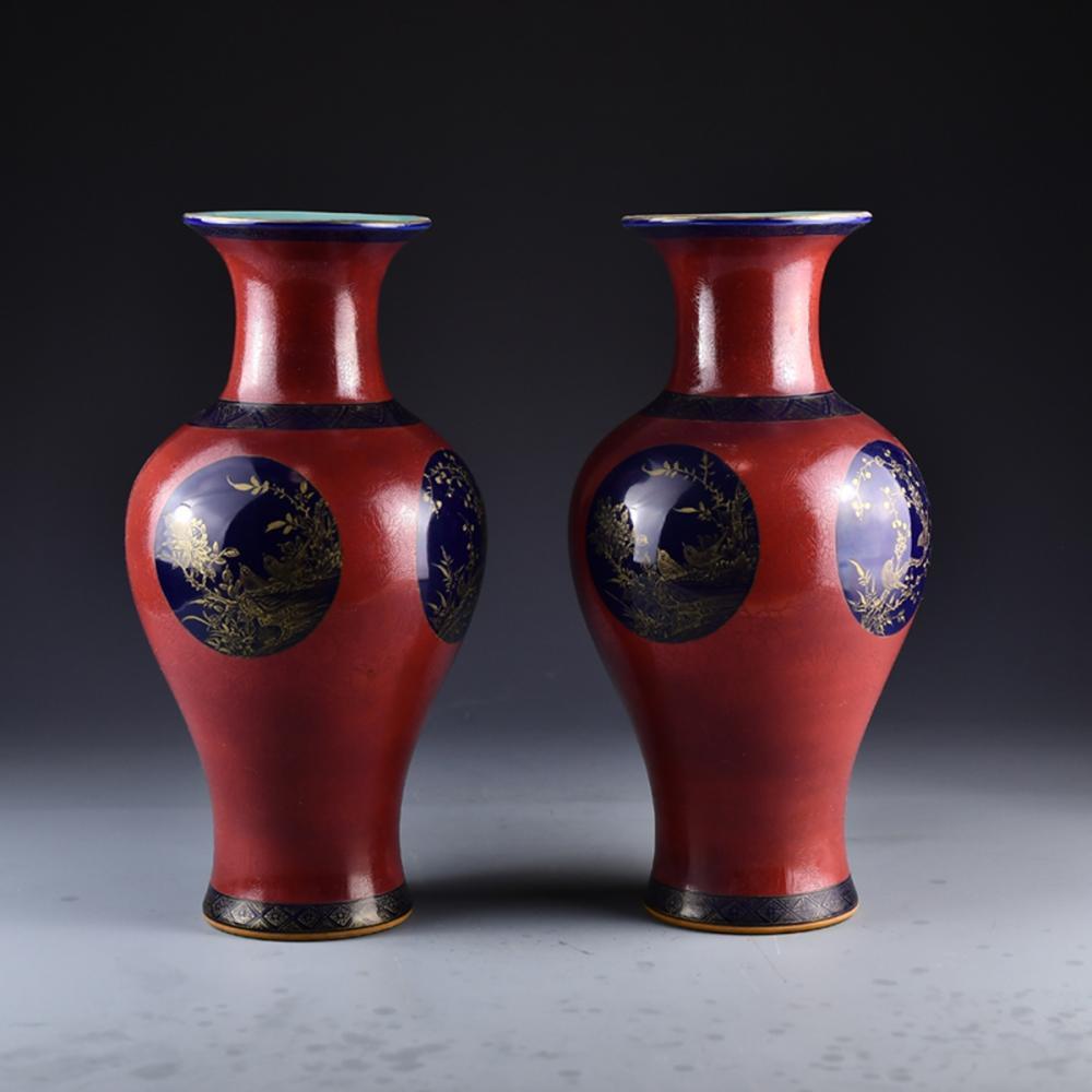A Pair Chinese Gilt Edges Red Glaze Porcelain Vases w Qian Long Mark