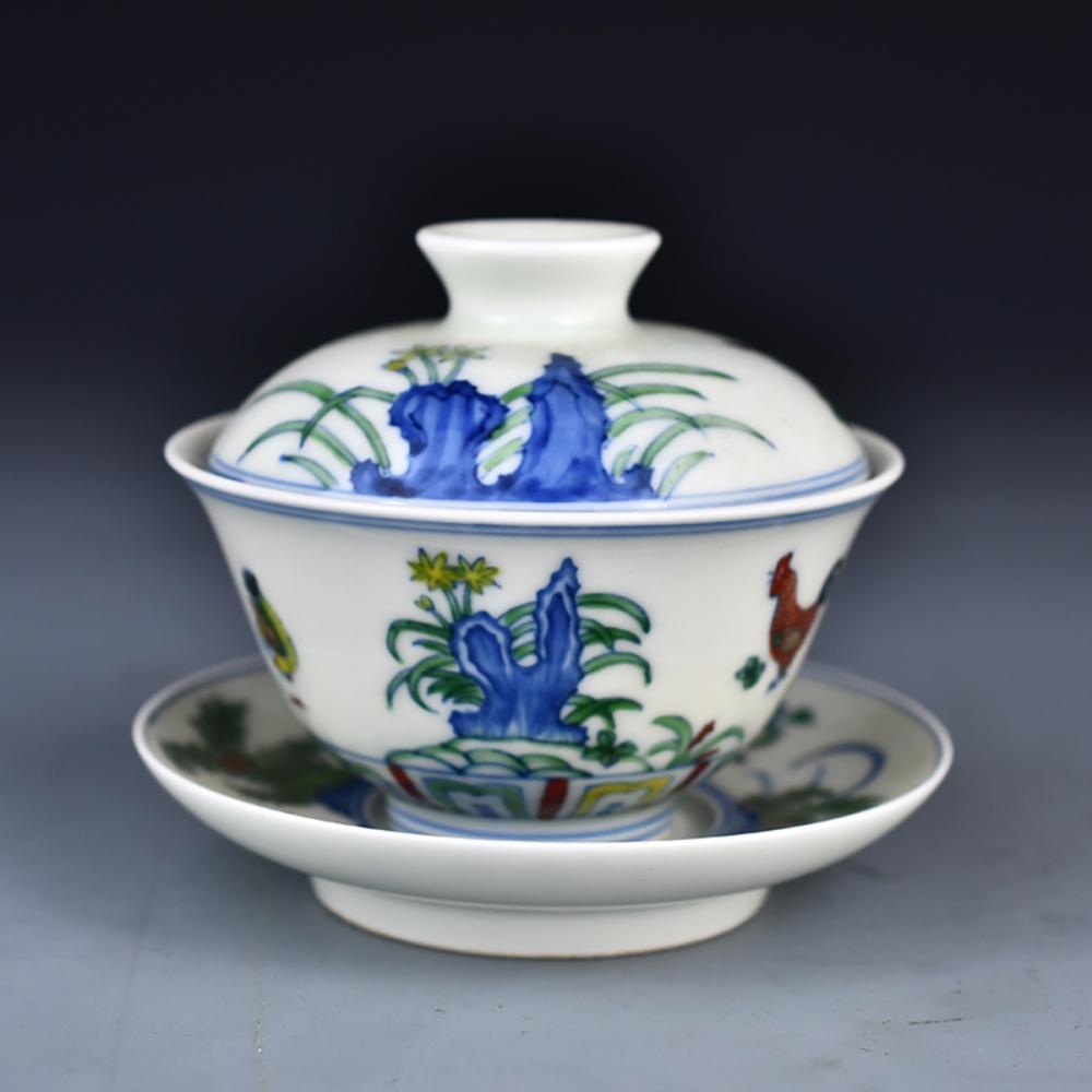 Chinese Dou Cai Porcelain Teabowl w Cheng Hua Mark