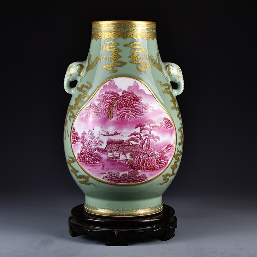 Qing Dy Gilt Gold Green & Rouge Glaze Double Ears Porcelain Pot