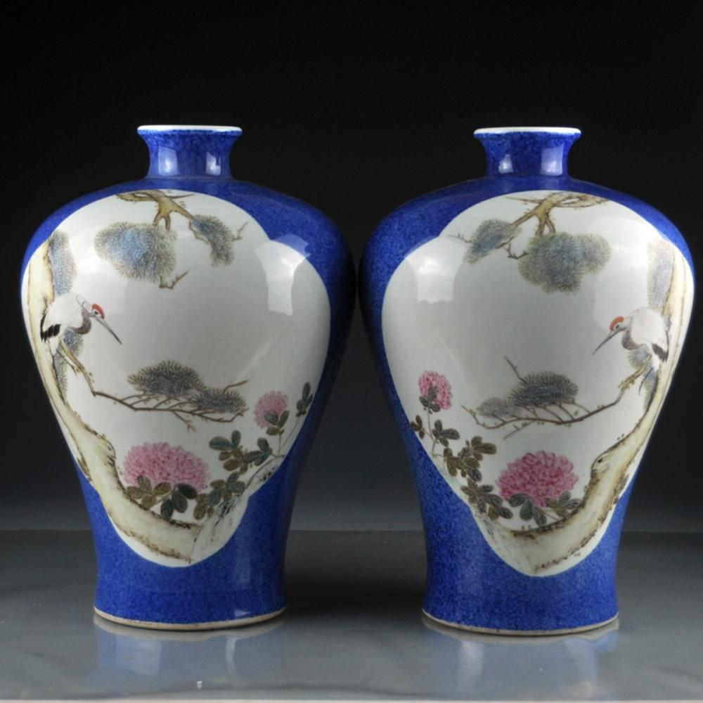 A Pair Chinese Qing Dy Snowflake Glaze Famille Rose Porcelain Vases  w Pine Tree & Cranes