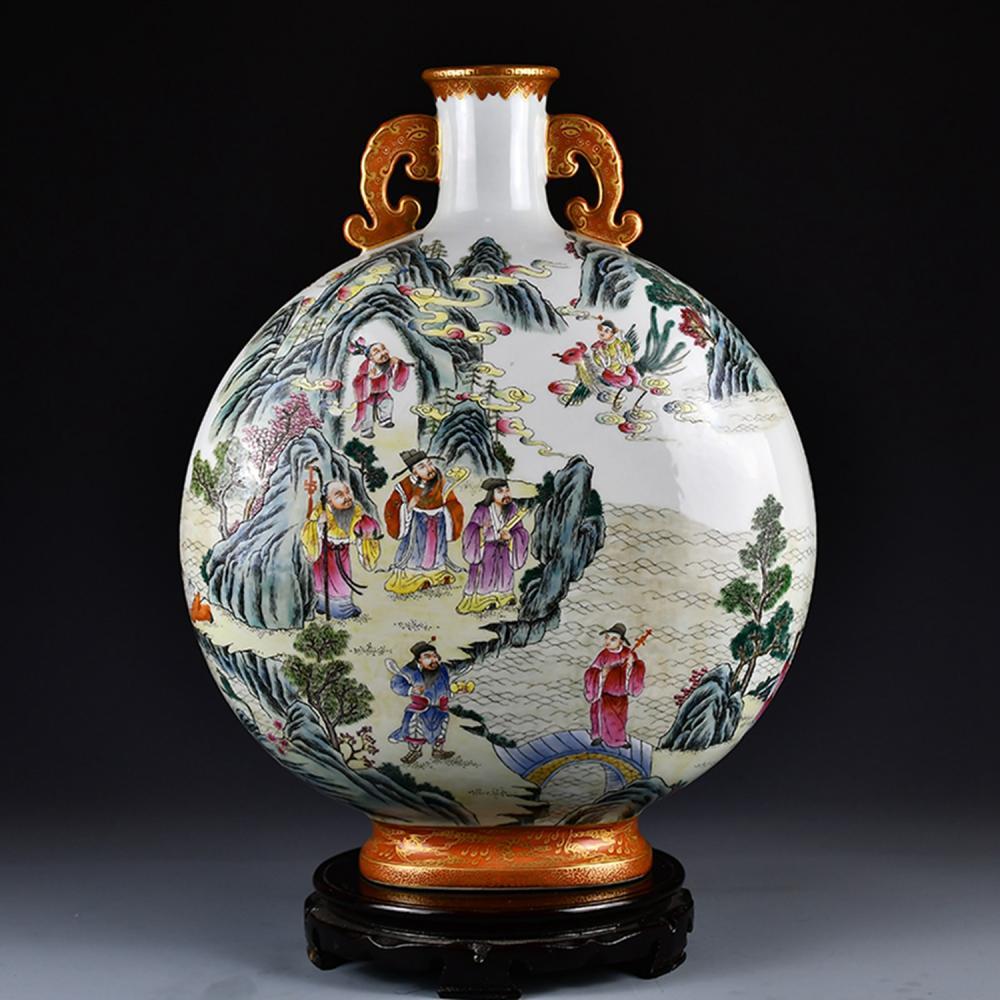 Superb Chinese Qing Dy Gilt Edge Famille Rose Figures Porcelain Double Ears Vase w Qianlong Mark