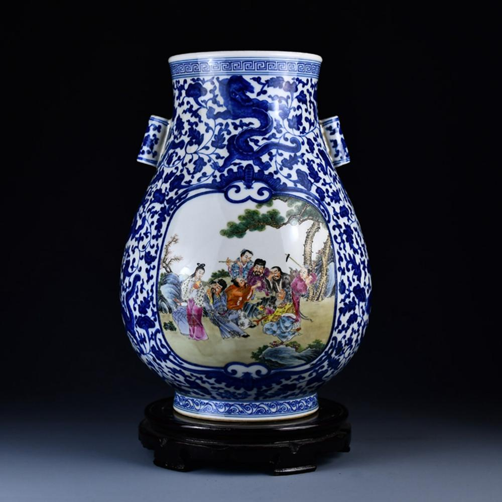 Chinese Qing Dy Famille Rose + Blue And White Porcelain Big Vase w Qianlong Mark
