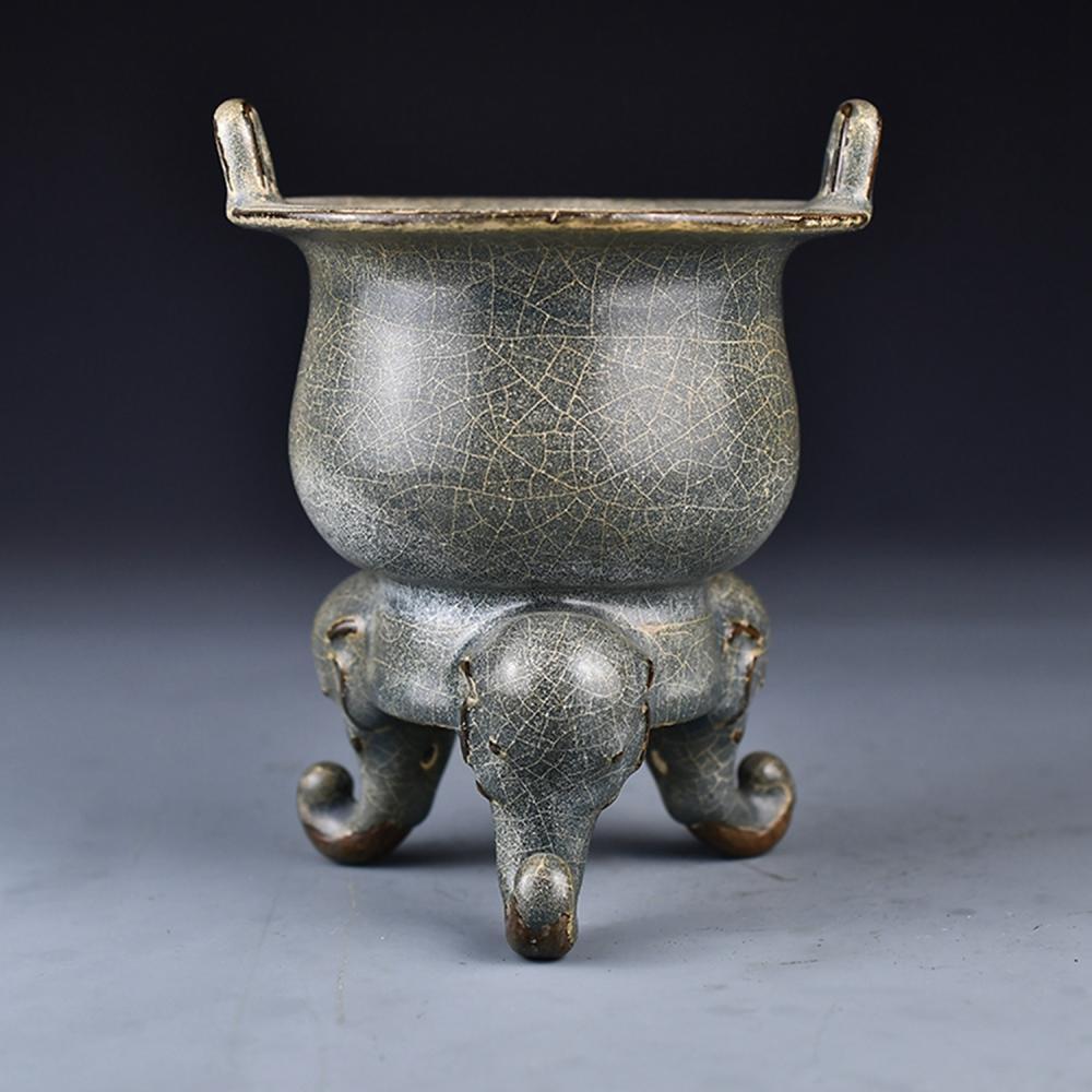 Chinese Song Dy Long Quan Kiln Porcelain 3 Legs Incense Burner