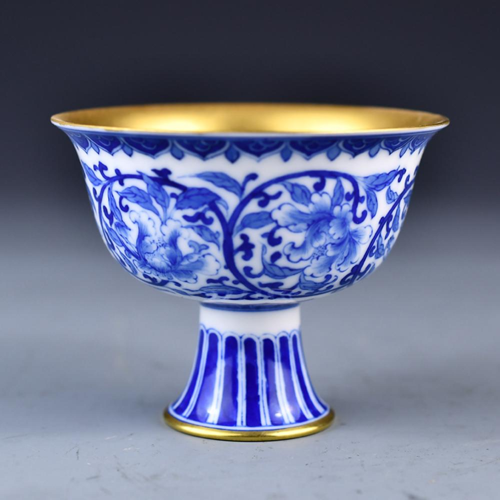 Beautiful Chinese Gilt Gold Blue And White Porcelain Goblet