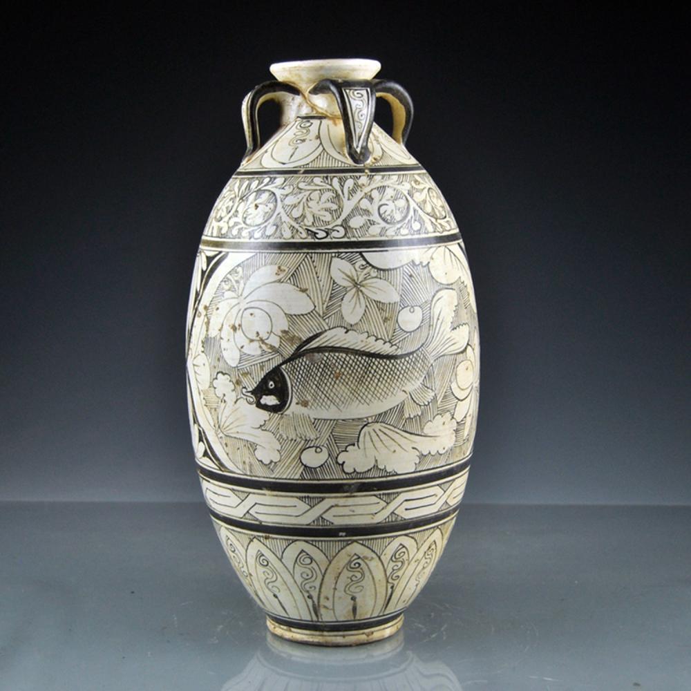 Chinese Song Dy Ci Zhou Kiln Fish Design Porcelain Vase