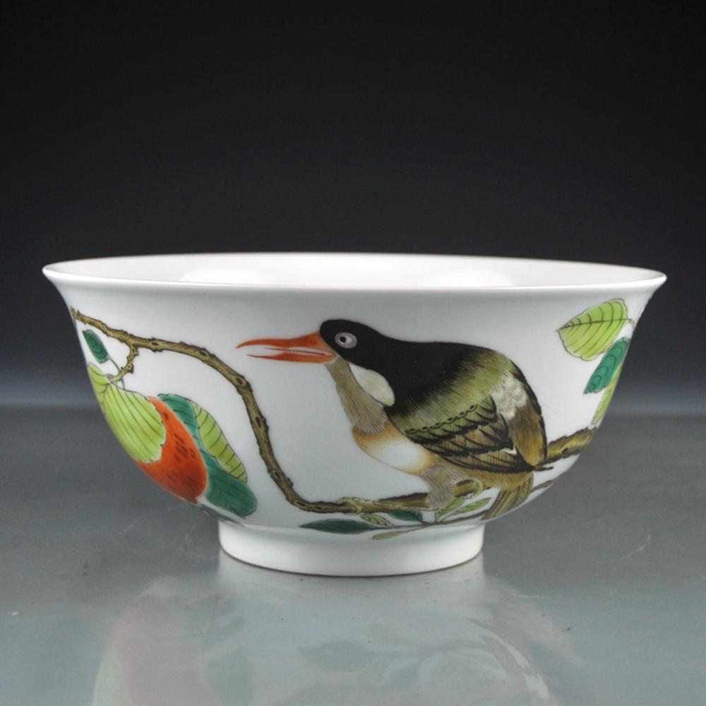Chinese Qing Dy Wu Cai Porcelain Bowl w Bird & Kangxi Mark